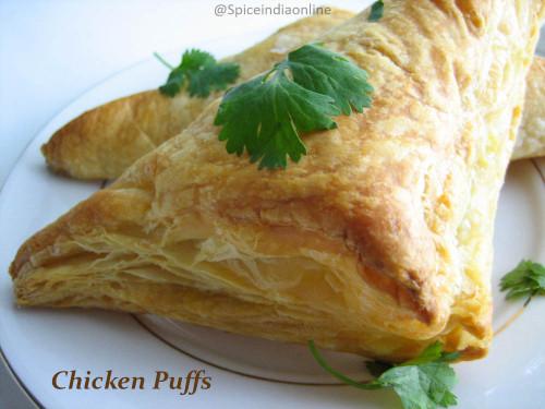 Indian Chicken Puffs Recipe – Bakery Style Chicken Puffs – Chicken ...