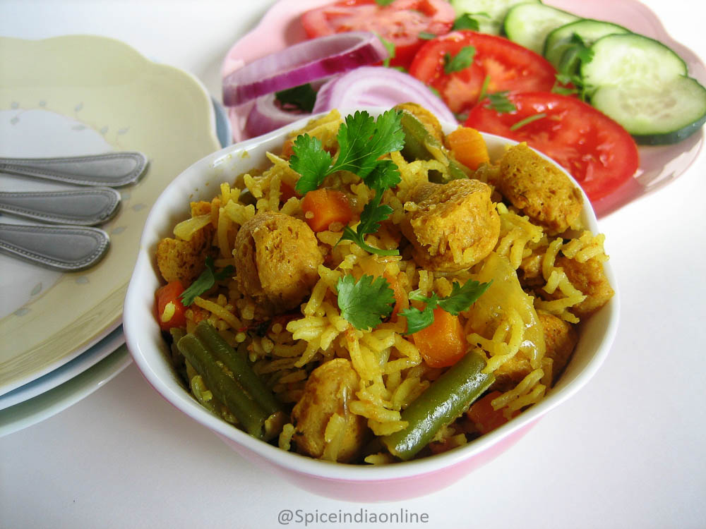 Soya Chunks Vegetable Biryani