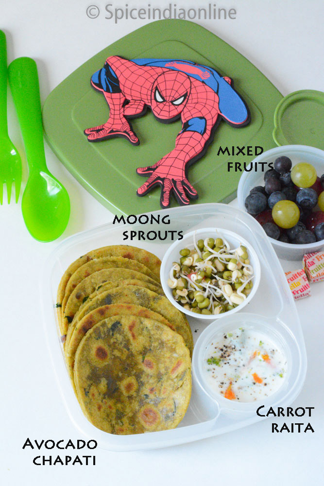 Kids school lunch ideas spiceindiaonline kids school lunch box 12 avocado chapati moong sprouts carrot raita forumfinder Choice Image