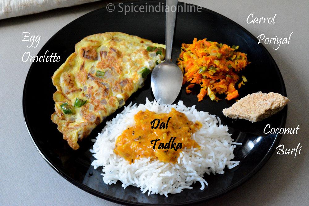 Lunch Dinner menu 13 Dal Tadka Omelette Carrot Fry coconut burfi