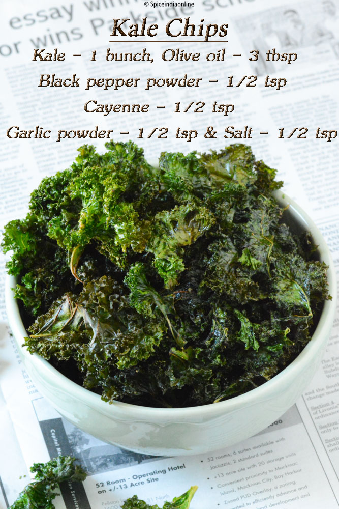 Kale Chips Recipe ~ Baked kale chips ~ How to make crispy kale chips