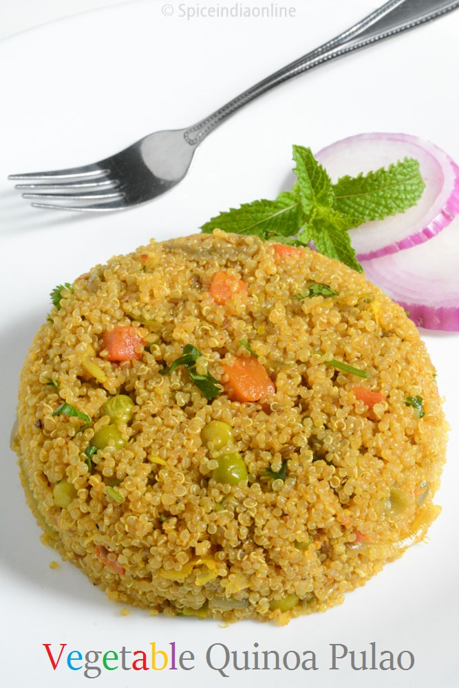 Vegetable quinoa pulao 1 for Quinoa recipes indian