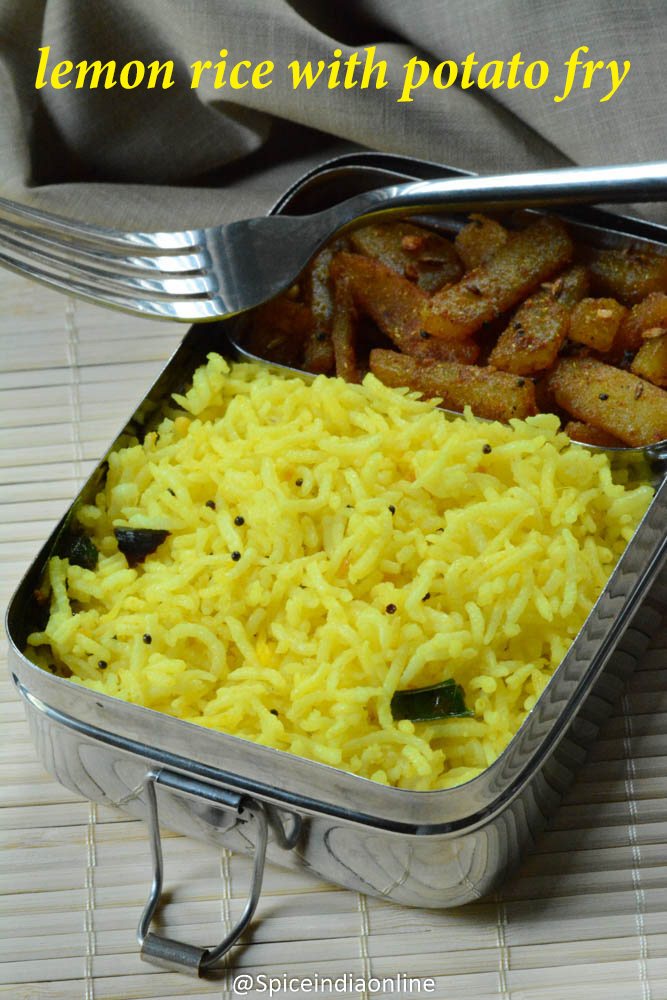 Kids School Lunch Box 13 - Lemon Rice with Potato Fry