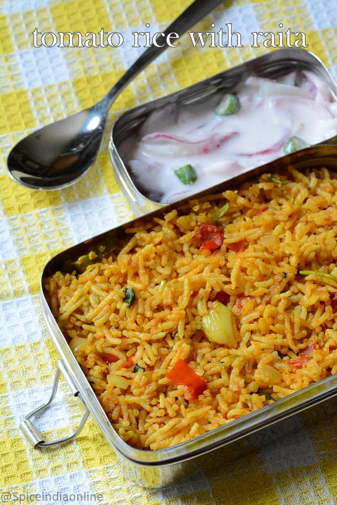 Kids Lunch Box Idea 14 - Tomato Rice with raita