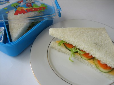 Kids School Lunch Box  1 – Cucumber Carrot Sandwich