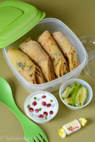 Kids School Lunch Box 4 – Aloo Paratha with Pomegranate Raita