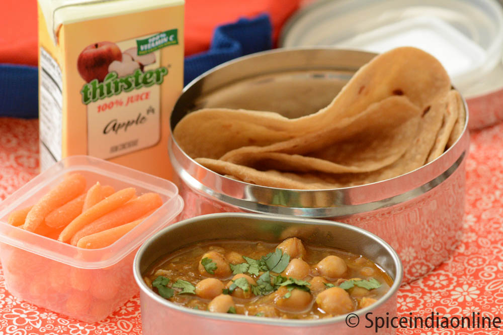 Kids School Lunch Box 9 - Chapathi Channa Masala