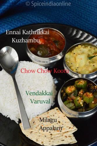 Lunch / Dinner Menu 9 – South Indian Vegetarian Lunch Menu –