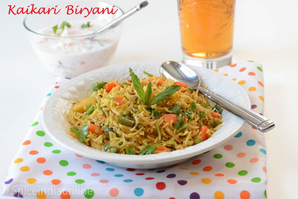 Kaikari Biryani Recipe - Chettinad Vegetable Biryani ...